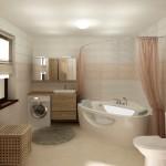 Интерьер ванной комнаты, созданный на заказ и оформленный текстилем от салона штор Декория
