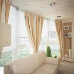 Портьеры в сочетании с рулонными шторами, в оформлении балкона от салона штор Декория