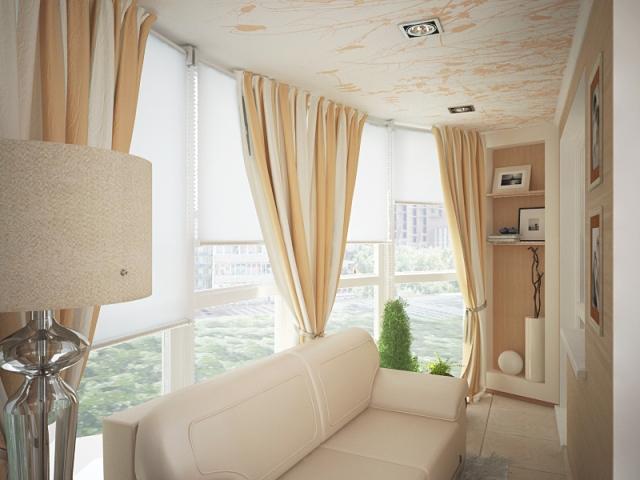 Дизайн занавесок на балконе