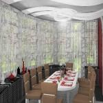 Светло-серая узорчатая гардина, изготовленная специально под интерьер гостиной в современной стилистике от салона штор Декория