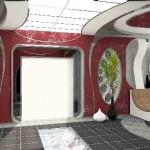 Необычный космический дизайн гостинойи текстильное оформление от салона штор Декория