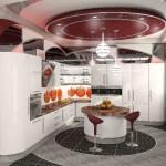 Интересная расписная гардина, изготовленная салоном Декория, для современного интерьера гостиной