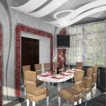 Светлая гардина в гостиную, дизайн которой исполнен в необычном космическом стиле, от салона штор Декория