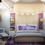 Текстиль для спальни, балдахин и гардины с портьерами от салона штор Декория