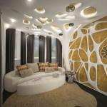 Классические темные портьеры в космическом дизайне интерьера, изготовленная под заказ салоном штор Декория