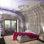 Яркий розовый текстиль для спальни, сделанной в космическом современном стиле, от салона штор Декория