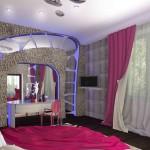 Оригинальные портьеры и гардина в дизайне спальни, исполненном в космическом уникальном дизайне от салона штор и ателье Декория в Челябинске