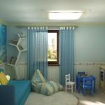 Полупрозрачные голубые занавески, в детской комнате для мальчика, изготовленные под заказ салоном штор Декория