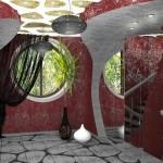 Черная занавеска, для декора современного интерьера холла второго этажа, от салона штор Декория