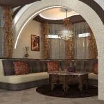 Золотые рюши на шторох в комнате отдыха, от салона штор и ателье Декория в Челябинске