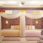 Декоративный балдахин над кроватью в проекте детской спальни для девочек