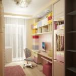 Белая классическая гардина в проекте интерьера детской комнаты для девочек, изготовленная салоном штор и ателье Декория