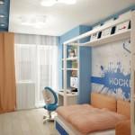 Шторы и подушки, изготовленные под заказ для детской комнаты для мальчика, от салона штор и ателье Декория в Челябинске