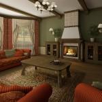 Шторы с ламбрекеном для проекта интерьера гостиной в Тарасовке от салона штор Декория