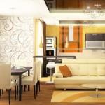 Теплый интерьер вашей гостиной изысканно дополнят легкие коричневые шторы от салона штор Декория