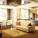 Шторы н а заказ, шоколадные в пол, в интерьере квартиры-студии от салона штор Декория