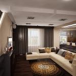 Шикарные шторы с тюлем в изысканном интерьере гостинной от салона штор Декория