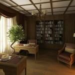 Дизайн кабинета на Тарасоке, портьеры с ламбрекеном, изготовленные на заказ салоном штор Декория