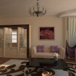Подушки и шторы, нежно фиалкового цвета, изготовленные под заказ, салоном штор и ателье Декория, для квартиры в Челябинске
