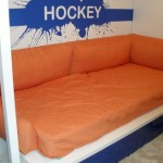 Разработанный по индивидуальному заказу и сшитый текстиль для детской комнаты мальчика от салона штор Декория