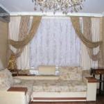 Золотые шторы для интерьера в современном стиле, под заказ от салона штор Декория