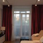 Алые блестящие теневые шторы под заказ от салона Декория